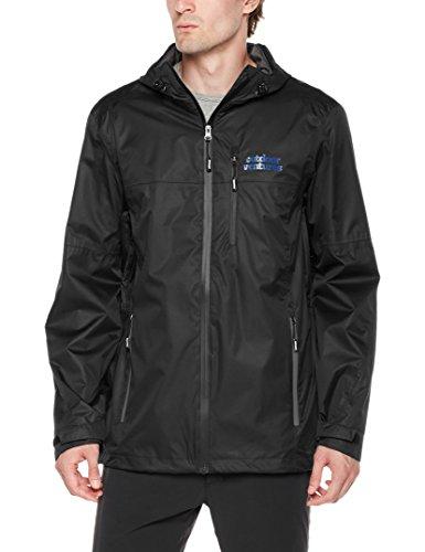 Outdoor Ventures Men's Lake Waterproof Raincoat Windbreaker Lightweight Packable Rain Jacket Black ()