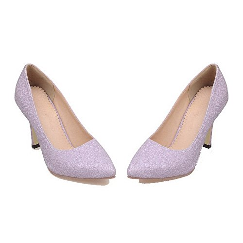 Pumps On Heels Women's Shoes Purple High Solid Odomolor Pull 36 Pointed Glitter Toe 8Uzdn