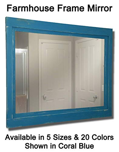 Coral Rectangular Mirror - Farmhouse Large Framed Mirror Available in 5 Sizes and 20 Paint Colors: Shown in Coral Blue - Large Wall Mounted Mirror - Rustic Wall Decor - Mirror Decor - Bathroom Wall Mount Mirror
