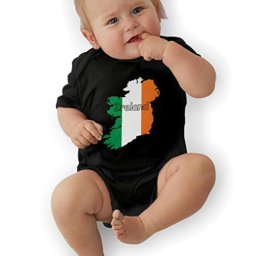 U88oi-8 Short Sleeve Cotton Rompers for Baby Girls Boys, Fashion Ireland Flag Map-1 Crawler Black -