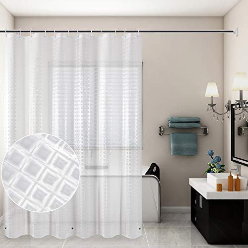 AmHoo 3D Shower Curtain Liner,100% EVA 8G Waterproof-NO PVC,Non Toxic,No Chemical Odor,Eco Friendly +12Pcs Hooks (72