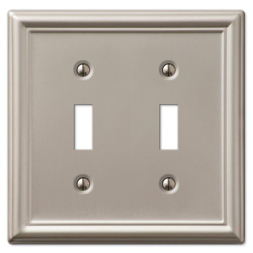 Brushed Nickel Switchplate Covers (Decorative Wall Switch Outlet Cover Plates (Brushed Nickel, Double Toggle))