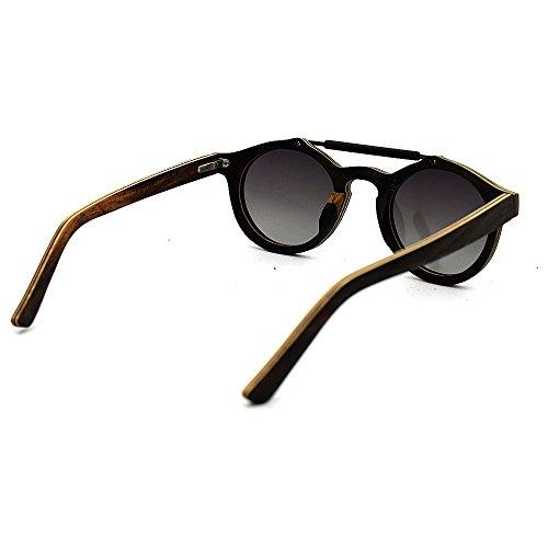 Protection Handcraft de Utilisation Bois Unisex pour UV400 extérieure Une Gris Gris en quotid et Couleur Soleil Convient Polyvalent Couleur lentille Personnalité Adulte Lunettes wf75xAXq