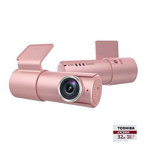 Goluk T1 Mini Car Dash Cam FHD 1080P Wi-Fi Car Digital Driving Video Recorder with 32G TF Card, 152 Degree Wide Angel G-Sensor, Night Vision, Motion Detection, Parking Monitor(Pink)