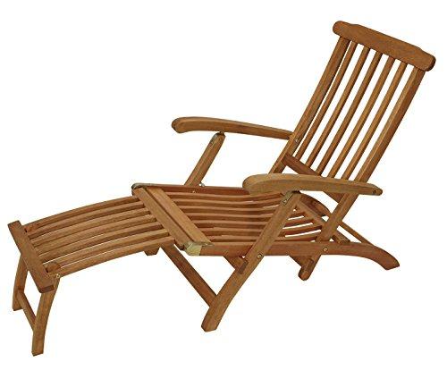 Deckchair Maine mit Fussteil aus Eukalyptus Hartholz, FSC®-zertifiziert