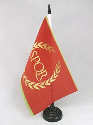(AZ FLAG Roman Empire Table Flag 5'' x 8'' - Roman Empire Desk Flag 21 x 14 cm - Black Plastic Stick and Base)