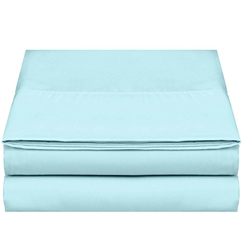 """Empyrean Bedding Premium Flat Sheet – """"110 GSM"""" Double Brushed Microfiber Extra Thick and Comfortable Flat Sheets, Luxurious & Soft Hotel Single Top Bed Sheet Hypoallergenic, Twin, Light Baby Blue by Empyrean Bedding"""