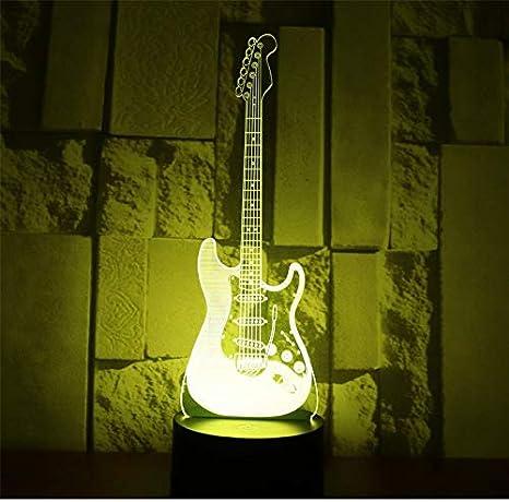 3D LED luz de la noche guitarra eléctrica con 7 colores de luz ...