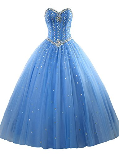 nestones Strapless Lace-up Puffy Ball Gown Quinceanera Dress Blue Size 8 ()