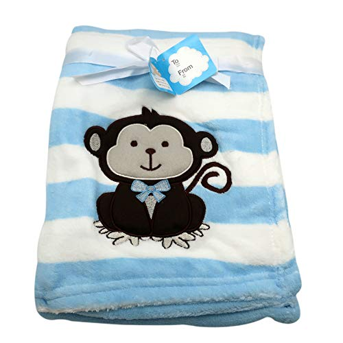Baby Blanket w/Embroidery Monkey Applique | Perfect for Infant & Toddlers, Boys & Girl, Extra Soft 30 x 40 in. | Ideal for Travel, Stroller, Nursery (Blue)
