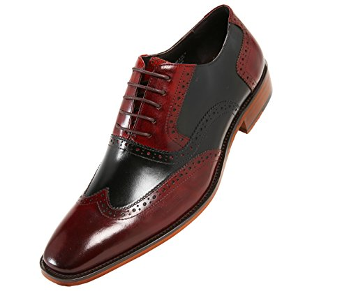 Asher Green Mens Two Tone Genuine Calf Leather Wingtip Spectator, Lace up Oxford Dress Shoe