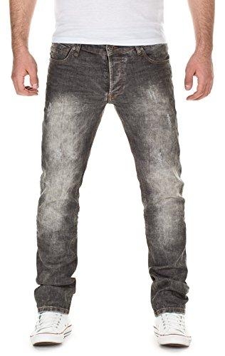 Yazubi Herren Jeans, Modell Dexter, Destroyed, mid acid grey, W33/L34