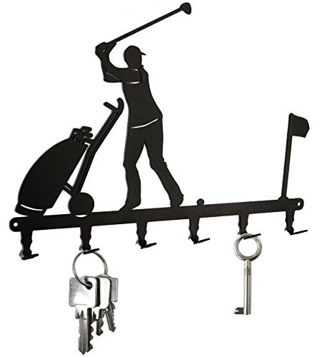 Golfer Key Holder - steelprint.de Key Holder/Hook - Golfer on Golf Course - Club - Key Hooks for Wall - Hanger - 6 Hooks - Black - Metal- 6 Hooks
