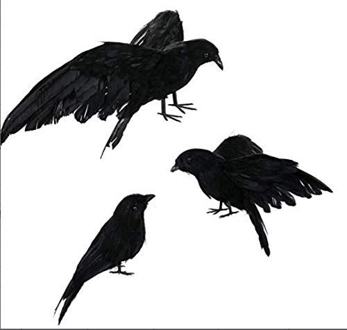iBelly Halloween Black Crow,Realistic Handmade Feathered Crow Prop Halloween Birds Raven Prop Décor Outdoor Indoor Party Decoration ()
