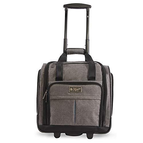 41jZeM%2B69DL - ORIGINAL PENGUIN Men's Ethan Wheeled Under The Seat Carry On Bag, Grey Crosshatch