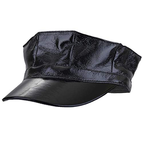 moonsix Newsboy Caps for Women Men, Vintage Plain PU Leather Visor Beret Cabbie Hat 8 Pannels(Black)