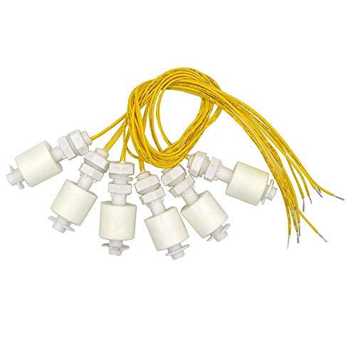 DerBlue 6 Pieces Liquid Water Level Sensor Vertical Float Switches,Model: DP4500,PP Material