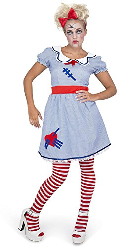 Karnival Women's Scary Doll Costume Set - Perfect for Halloween, Costume Party Accessory. Trick or Treating (L) (Popular Womens Halloween Costumes)