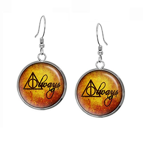 Harry Potter Always Earrings, Gryffindor Necklace, Fantastic Beasts and Where to Find Them, Slytherin Geek Geeky Gift Jewelry, Hufflepuff Pendant, Ravenclaw Earrings, Wedding, Nerd - Glasses Nerd Where Find To