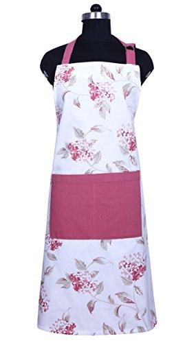 Apron, Unique Blooming Florals Design, Aprons for Women with Pockets, 100% Natural Cotton, Eco-Friendly & Safe, Adjustable Neck & Waist ties, Machine Washable, Cute Apron by CASA DECORS