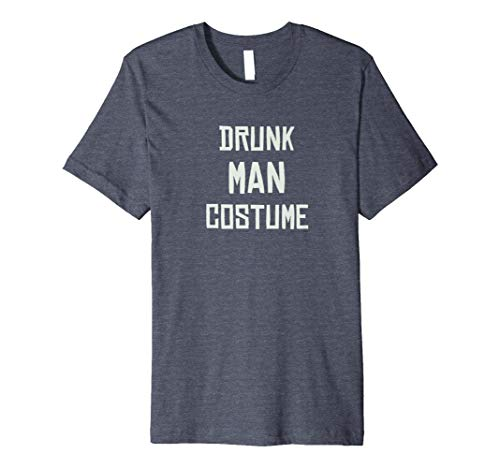 Mens Drunk Man Costume - Funny Halloween Graphic T-Shirt Small Heather Blue -