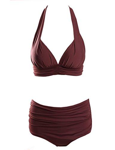 Surenow Womens Retro 50s Halter High Waist Bikini Carnival Swimsuit Bathing Suit, X-Large, Burgundy