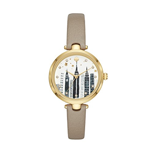 kate spade new york Women's Holland Stainless Steel Quartz Watch with Leather Calfskin Strap, Grey, 11 (Model: KSW1429)