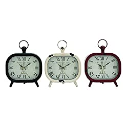 Benzara Shanghai Antique Styled Metal Table Clock, 3 Assorted