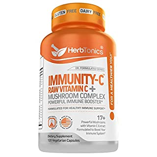 Immune Support with Vitamin C Mushroom Supplement Lions Mane, Cordyceps, Chaga, Reishi, Turkey Tail ) Vegan Capsules