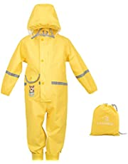 Toddler Rain Suit Baby Rain Suit with Hood Waterproof Coverall One Piece Rain Suit Kids Muddy Buddy(1-7 Years)