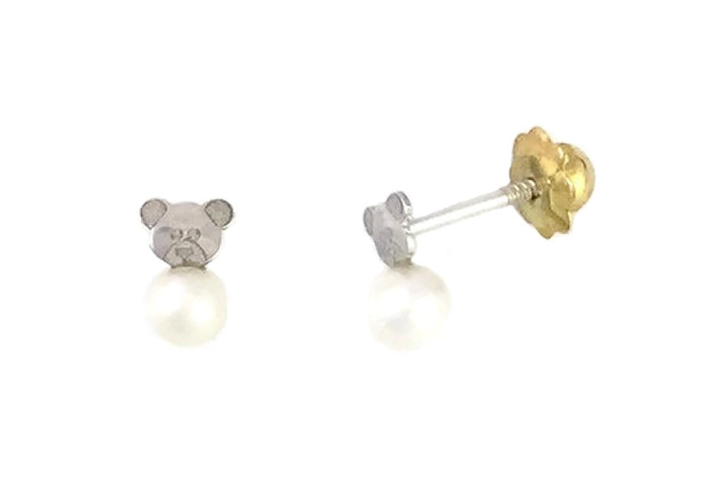 08b5f0e67abb Pendientes de bebé de oro blanco de 18 Klts M.A-PEN-10 (Perlas y ...