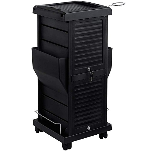 Saloniture Premium Locking Rolling Trolley Cart with Pockets - Black