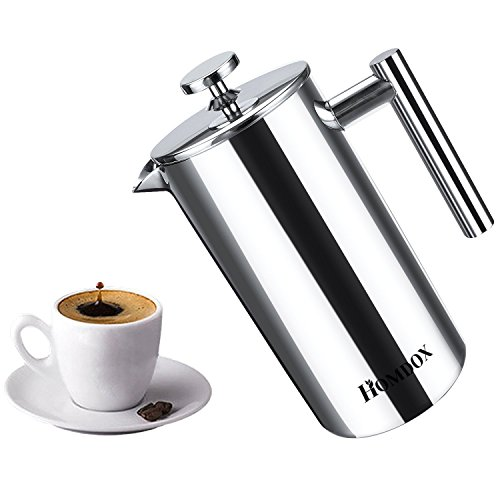 Homdox French Press, Coffee Tea Espresso Maker Inflame Resistant Glass with Stainless Steel Filter, 8 Cup/4 Mug (1 liter, 34 ounce) (Stainless Steel Coffee Press)