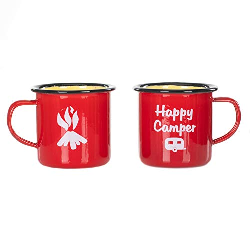 Happy Camper Fire Deep Glossy Red 10 Ounce Metal Enamelware Mug Set of 2