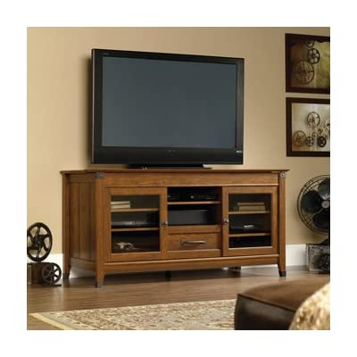 """Sauder 412922 Carson Forge Entertainment Credenza, For TV's up to 60"""", Washington Cherry finish - Accommodates up to a 60"""" Tv weighing 95 lbs. Or less Flip-up panel reveals digital dock for parking, Recharging and synching Mobile electronics and game controllers Adjustable center shelf holds audio/video equipment - tv-stands, living-room-furniture, living-room - 41jZi3igwgL. SS400  -"""
