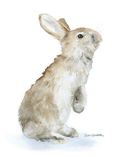 (Tan Bunny Rabbit Watercolor Print)