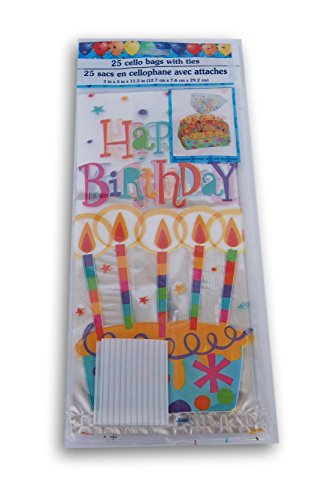 (Greenbrier International Happy Birthday Cake Design Treat Bags with Twist Ties - 25 count )