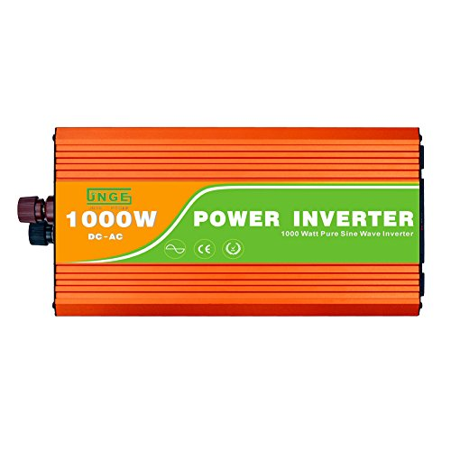 JNGE POWER 1000W Peak 2000W DC to AC Pure Sine Wave Solar Power Inverter with 5V USB and 120V AC output outlets (24V) by JNGE POWER