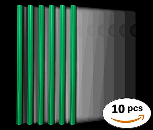 Plastic File Folder 10mm Sliding Bar Report Covers, 20C, 40 Sheet Capacity, Transparent Resume Presentation File Folders Organizer Binder for A4 Size Paper, 10 Pcs