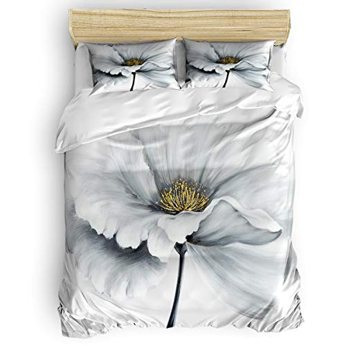 YEHO Art Gallery Bedding 3 Piece Kids Duvet Cover Sets Bed Sheet Set,Dahlia Pinnata Flower Comforter Cover Set with Zipper Closure,Include 1 Duvet Cover 1 Bed Sheets 2 Pillow Cases Full Size
