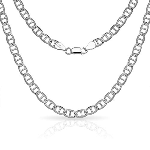 (JewelryWeb 925 Sterling Silver Men's Italian 6mm Pave Mariner Chain Necklace (18'-30