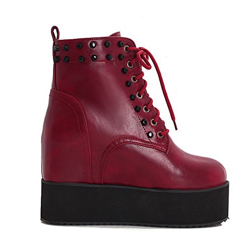 AmoonyFashion Womens Round-Toe Closed-Toe High-Heels Boots with Non-Slipping Sole and Platform Red E1zzX1wTu