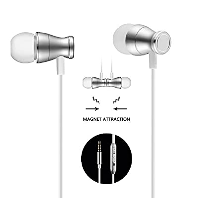 Headphones In-Ear Earbuds Earphones, Acode 3.5mm Metal Housing Magnetic Best Wired Bass Stereo Headset Built-in Mic/Hands-free/Volume Control+Carrying Case+3 Pair EarBuds (S/M/L)