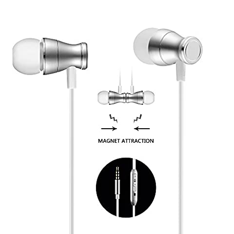 In-Ear Earbuds Earphones Headphones, Acode 3.5mm Metal Housing Magnetic Best Wired Bass Stereo Headset Built-in Mic/Hands-free/Volume Control+Carrying Case+3 Pairs EarBuds (S/M/L) (Silver)