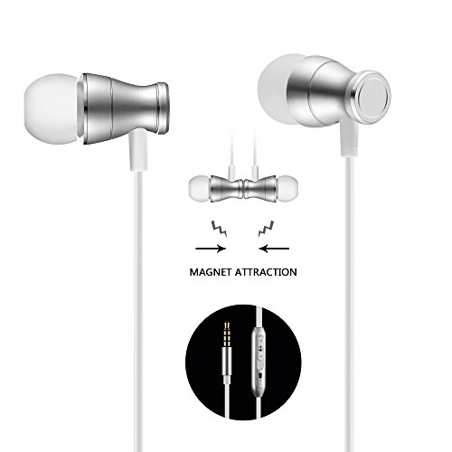 Acode In-Ear Earbuds Earphones Headphones, 3.5mm Metal Housing Magnetic Best Wired Bass Stereo Headset Built-in Mic/Hands-free/Volume Control+Carrying Case+3 Pairs EarBuds (S/M/L) (Silver)
