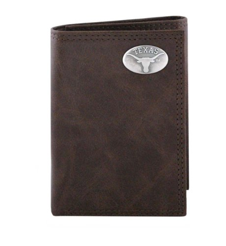 NCAA Texas Longhorns Brown Wrinkle Leather Trifold Concho Wallet, One Size