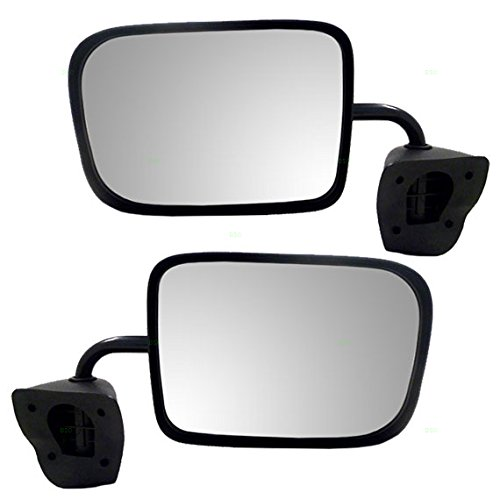 Driver and Passenger Manual Side View Mirrors 6x9 Low Mount Textured Replacement for Dodge Van 55154969 (Dodge Van Manual Replacement)