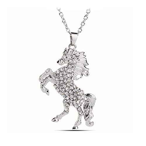 (Godyce Charms Enamel Rainbow Horse Pendant Necklace with Earrings Jewelry Sets for Girls (Silver))