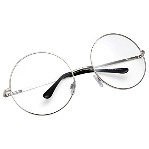 grinderPUNCH - Non-Prescription Round Circle Frame Clear Lens Glasses Large Silver -