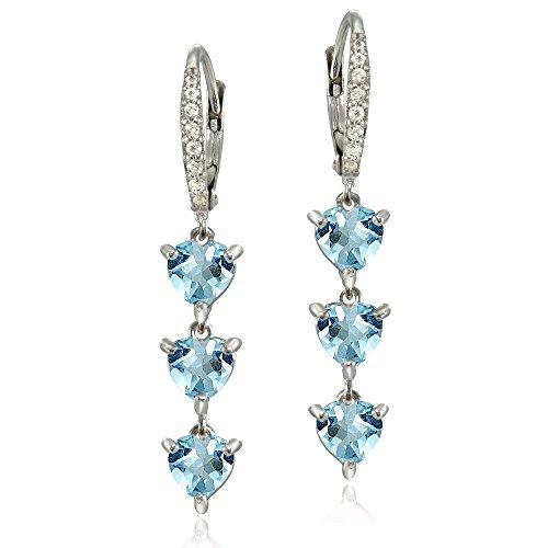 - Sterling Silver Genuine Blue and White Topaz Heart 3-Stone Dangle Earrings